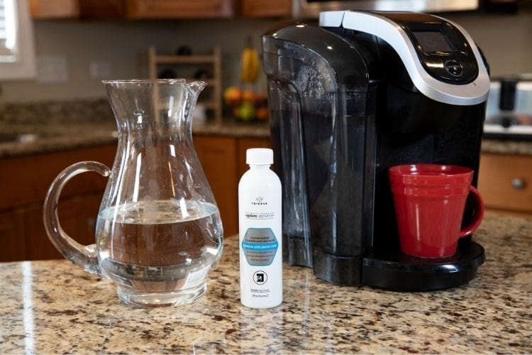 Keurig on counter with TriNova Coffee Maker Cleaner