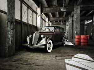 oldtimer in a hangar