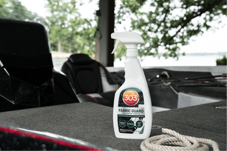 if you worry about the cushions on your boat every time it rains—because you don't want them soaked or covered in water spots—303 Fabric Guard has you covered.