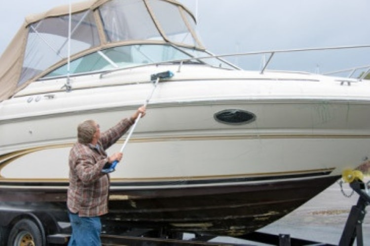 Rinsing, washing, and waxing are all important methods of boat cleaning for both the interior and exterior while it is docked.