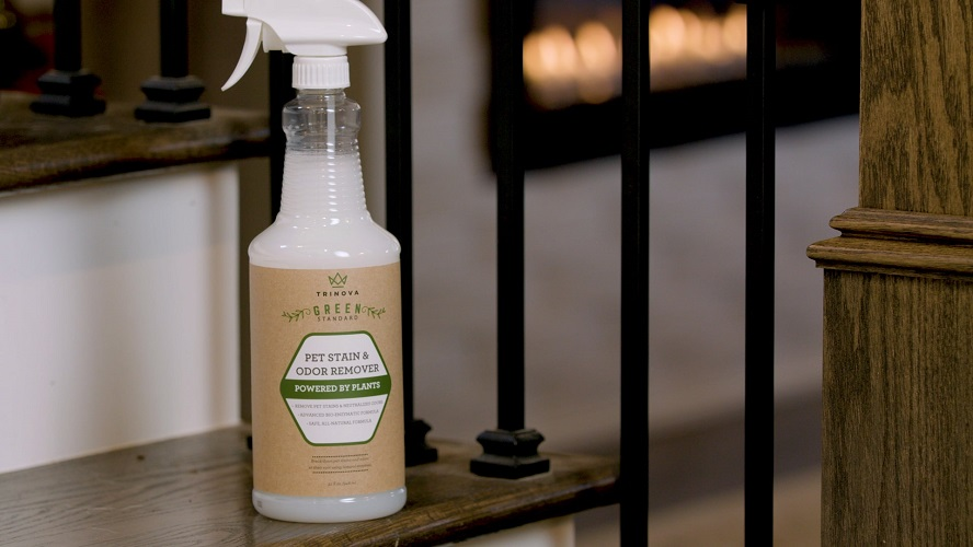 TriNova Natural Pet Stain Bottle on Stairs Close min